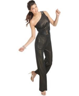 Sugar & Spice Jumpsuit, Sleeveless One Shoulder Beaded Belted Metallic