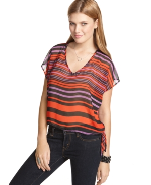 6 Degrees Top, Short Sleeve Striped V-Neck