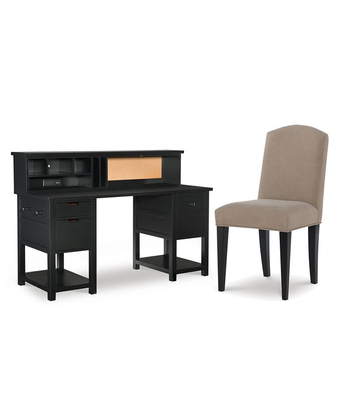 Furniture Study Hall Kid S Home Office Furniture 3 Pc Set Junior Executive Desk Hutch Upholstered Desk Chair Reviews Furniture Macy S
