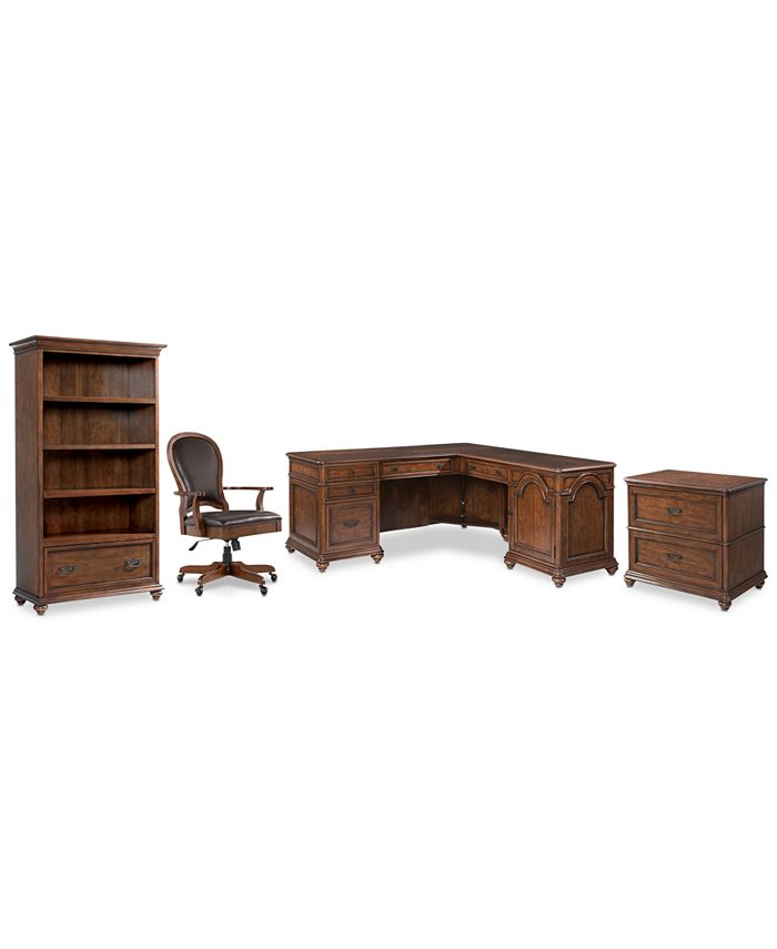 Furniture - Clinton Hill Cherry Home Office, 4-Pc. Set (L-Shaped Desk, Lateral File Cabinet, Open Bookcase & Leather Desk Chair)