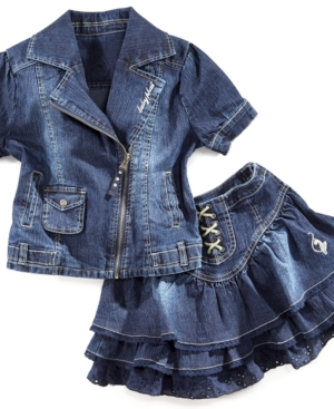 Baby Phat Kids Jacket, Girls Denim Motorcycle Jacket