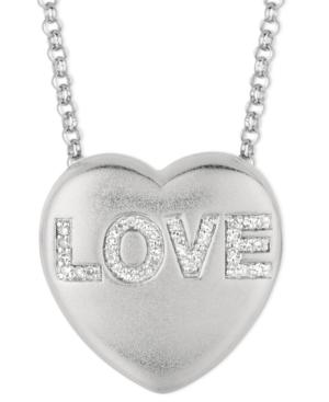 Sweethearts Diamond Necklace, Sterling Silver Diamond Love Heart Pendant (1/10 ct. t.w.)
