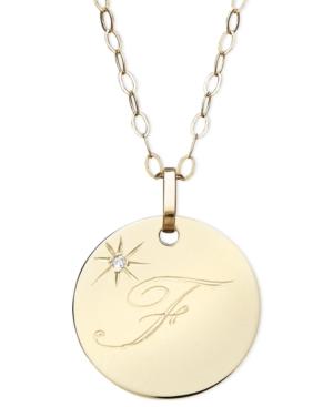 14k Gold Necklace, F Initial Diamond Accent Disc Pendant