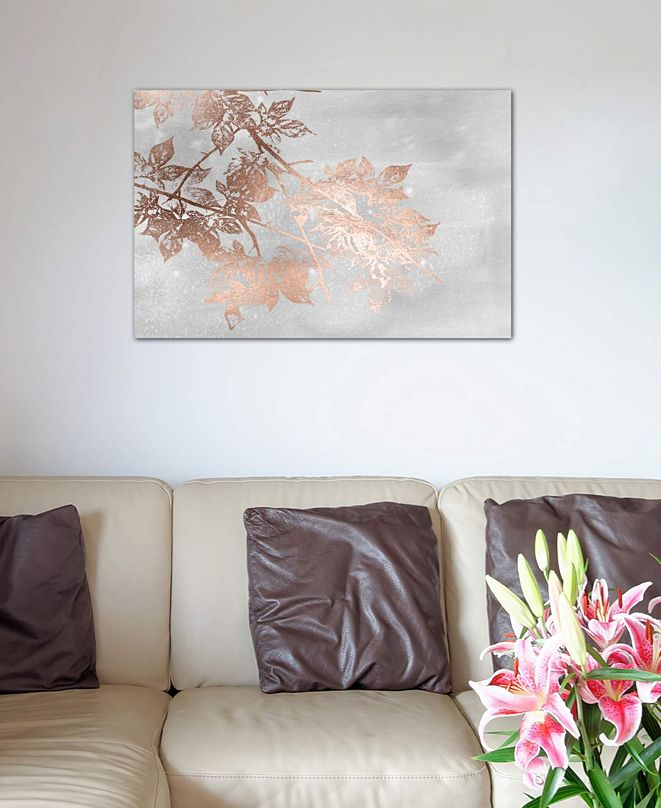 """iCanvas """"Rose Gold Foil Maple On Grey Wash I"""" by Jennifer Goldberger Gallery-Wrapped Canvas Print (26 x 40 x 0.75)"""