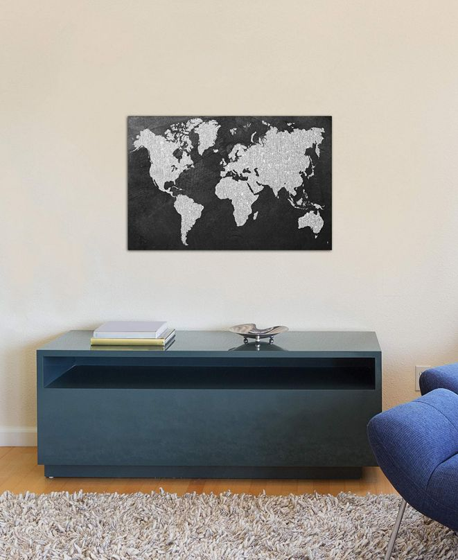 "iCanvas ""Grey Map"" by Natasha Westcoat Gallery-Wrapped Canvas Print (18 x 26 x 0.75)"