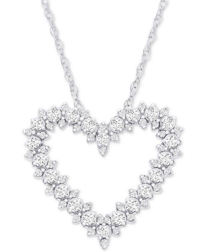 "Macy's - Diamond Heart 18"" Pendant Necklace (1/2 ct. t.w.) in 14k White Gold"