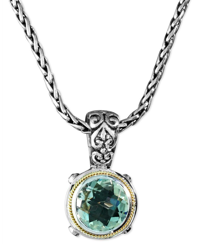 EFFY Collection - Green Quartz  Round Pendant (5 ct. t.w.) in Sterling Silver and 18k Gold
