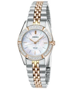 Seiko Watch, Women's Solar Two Tone Stainless Steel Bracelet 25mm SUP112
