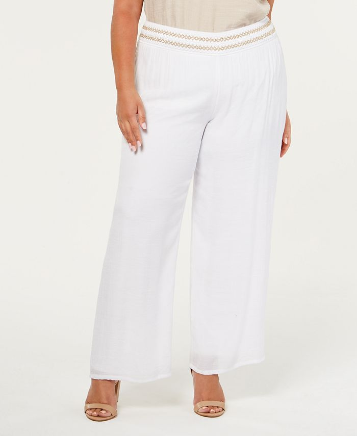 JM Collection - Plus Size Lined Gauze Pull-On Pants