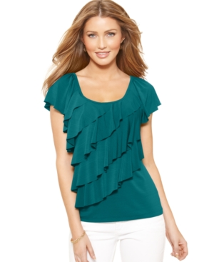 AGB Top, Flutter Sleeve Diagonal Ruffle
