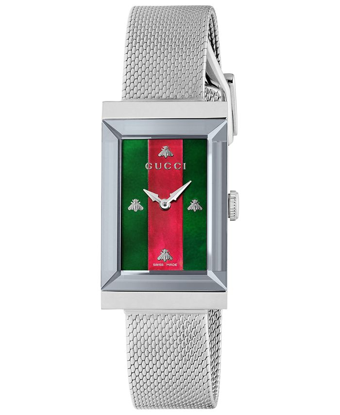 Gucci - Women's Swiss G-Frame Stainless Steel Mesh Bracelet Watch 21x34mm