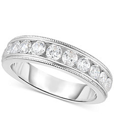 Diamond Bead Edge Channel-Set Band (9/10 ct. t.w.) in 14k White Gold