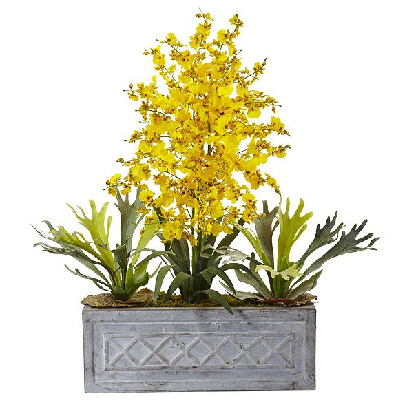 Nearly Natural Dancing Lady and Staghorn in Stone Planter