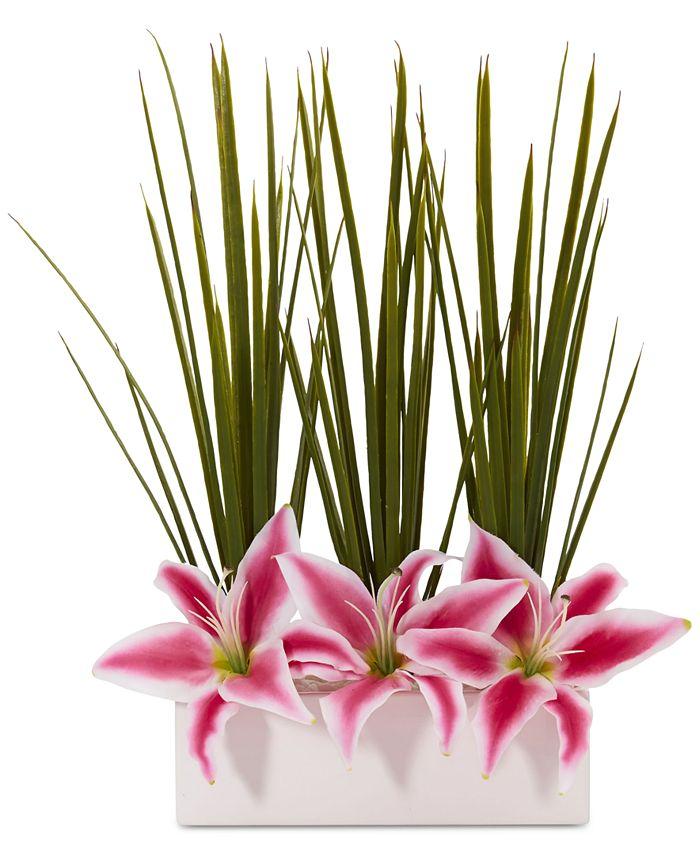 Nearly Natural - Grass & Lily Artificial Arrangement in Rectangular Pot