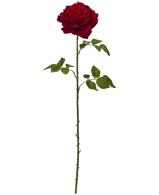 """Nearly Natural 33"""" Elegant Red Giant Rose Artificial Flower, Set of 4"""