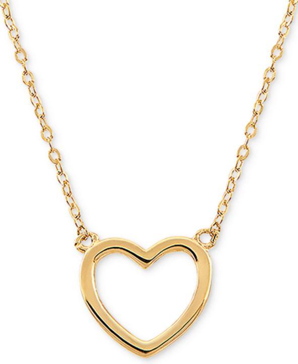 """Macy's Open Heart 17"""" Pendant Necklace in 10k Gold"""
