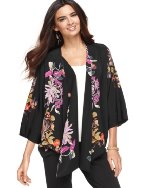 Alfani Jacket, Three Quarter Kimono Sleeve Floral Printed
