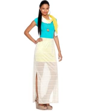 Bar III Skirt, Striped Chiffon Neon Lined Maxi