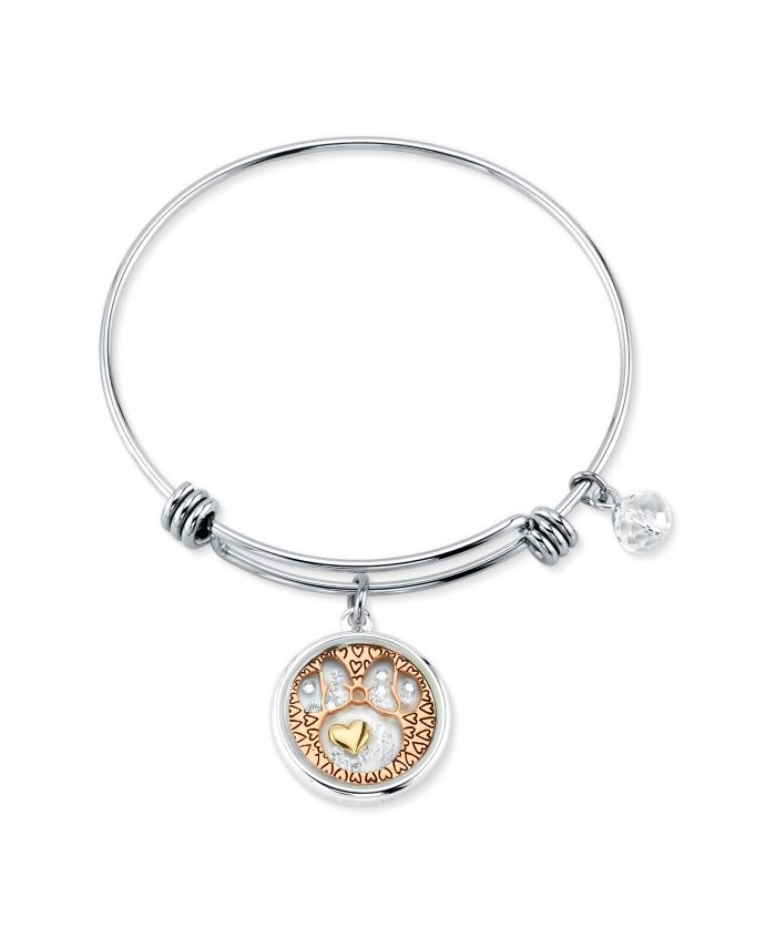 Disney Tri-tone Crystal Minnie Mouse Glass Shaker Adjustable Bangle Bracelet in Stainless Steel with Silver Plated Charms for Unwritten & Reviews - Bracelets - Jewelry & Watches - Macy's