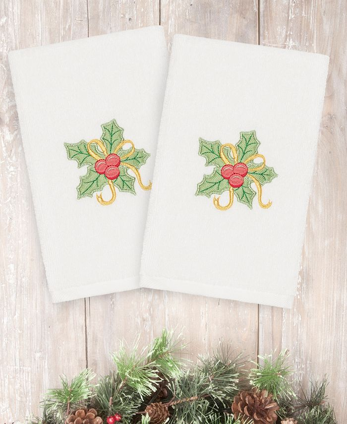 Linum Home - Textiles Christmas Holly Bunch - Embroidered Luxury 100% Turkish Cotton Hand Towels Set of 2