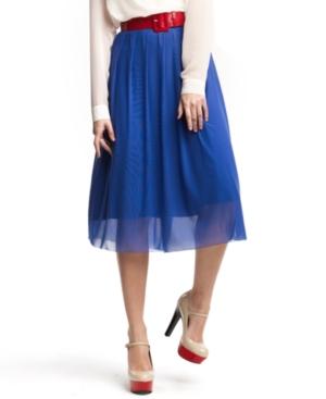 Kensie Skirt, Pleated Chiffon A Line Midi