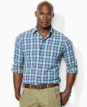 Polo Ralph Lauren Shirt, Big and Tall Classic Fit Plaid Farrell