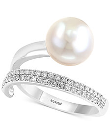 Pearl Lace by EFFY® Cultured Freshwater Pearl (10mm) and Diamond (1/8 ct. t.w.) Ring in 14k White Gold