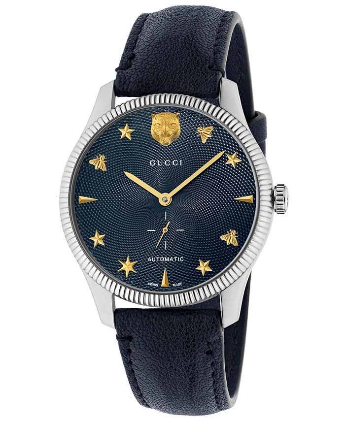 Gucci - Unisex Swiss Automatic G-Timeless Blue Leather Strap Watch 40mm