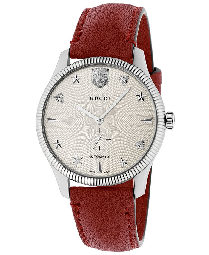 Gucci - Unisex Swiss Automatic G-Timeless Red Leather Strap Watch 40mm