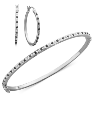Sterling Silver Jewelry Set, Black and White Diamond Accent Bangle and Hoop Earrings Set