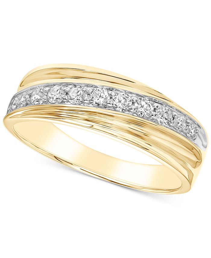 Macy's - Men's Diamond Diagonal Band (1/2 ct. t.w.) in 10k Gold