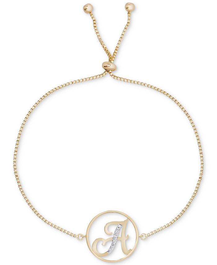 Macy's - Diamond Accent Initial Bolo Bracelet in 18k Gold-Plate