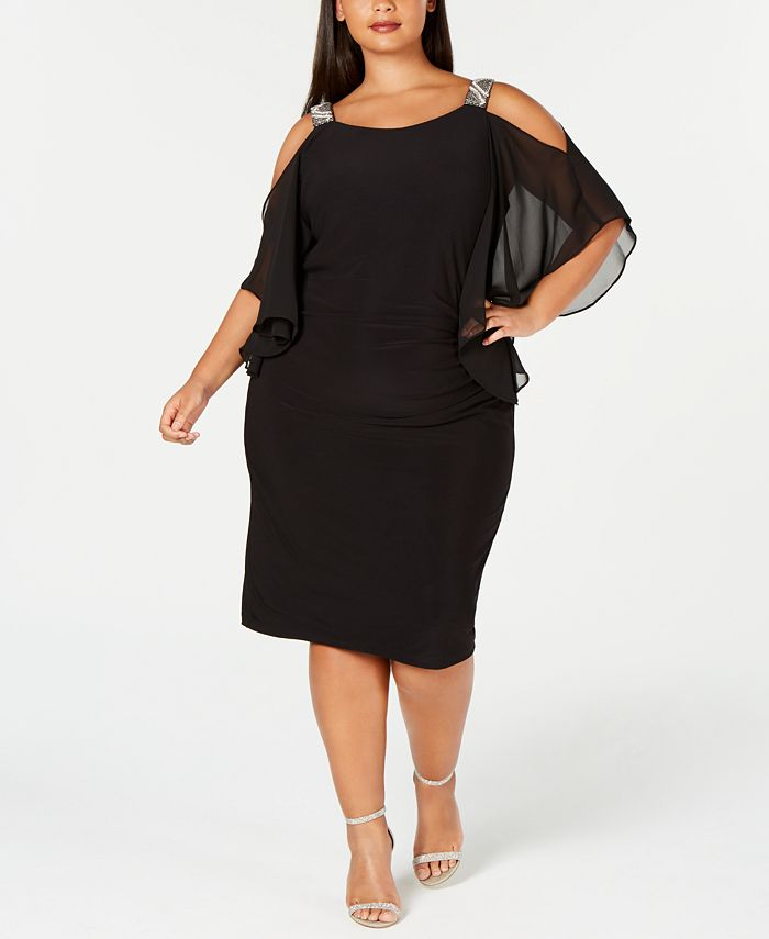 XSCAPE - Plus Size Rhinestone Cold-Shoulder Sheath Dress