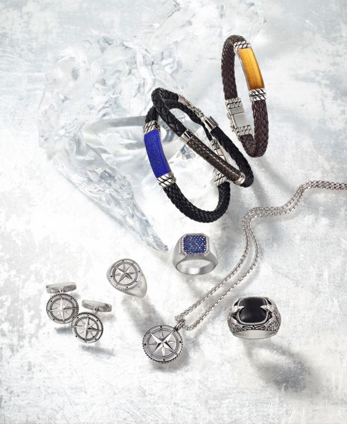 EFFY Collection EFFY® Men's Leather Bracelet in Sterling Silver & Reviews - Bracelets - Jewelry & Watches - Macy's