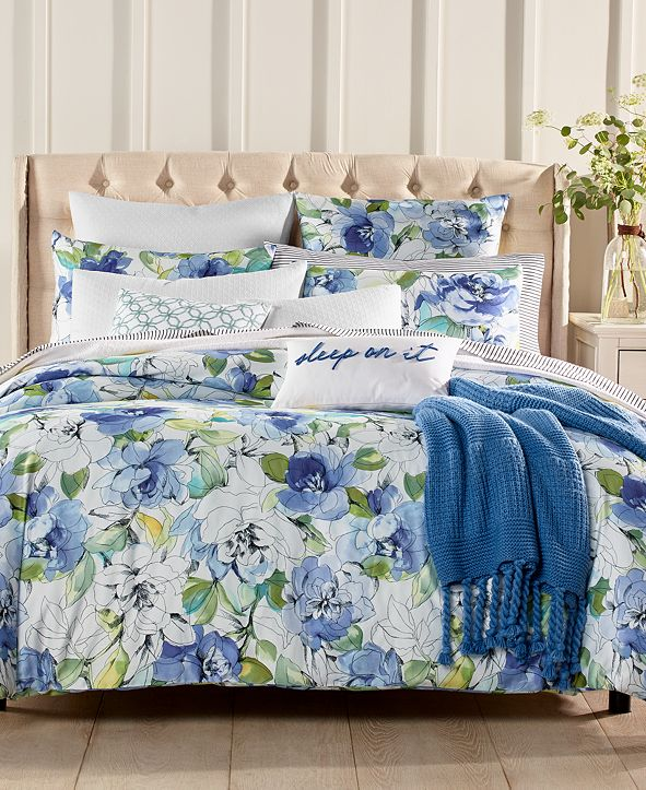 Charter Club Closeout! Sketch Floral Cotton 300 Thread Count 3-Pc. Full/Queen Duvet Cover Set, Created for Macy's