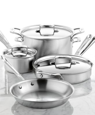 All-Clad BD5 Brushed Stainless Steel 7 Piece Cookware Set