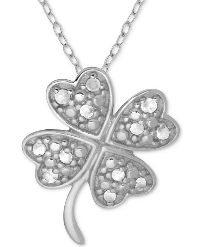 """Macy's - Diamond Clover 18"""" Pendant Necklace (1/10 ct. t.w.) in Sterling Silver"""