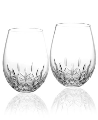 Waterford Stemware, Lismore Nouveau Stemless Deep Red Wine Glasses, Set of 2