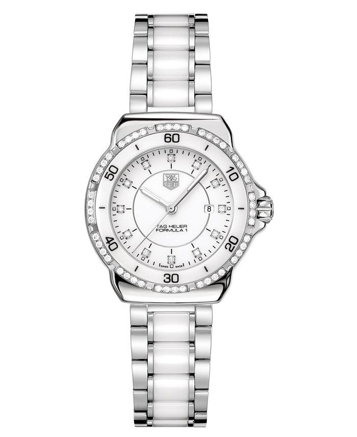 TAG Heuer - Women's Swiss Formula 1 Diamond (1/3 ct. t.w.) Stainless Steel and White Ceramic Bracelet Watch 32mm WAH1313.BA0868