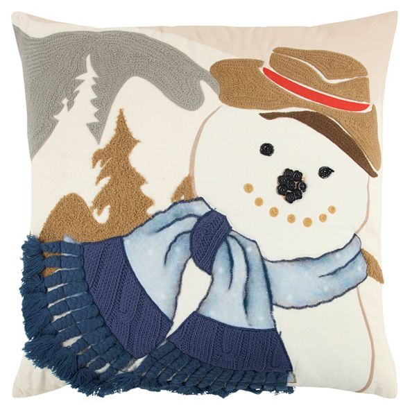 """Rizzy Home 20"""" x 20"""" Snowman Pillow Cover"""