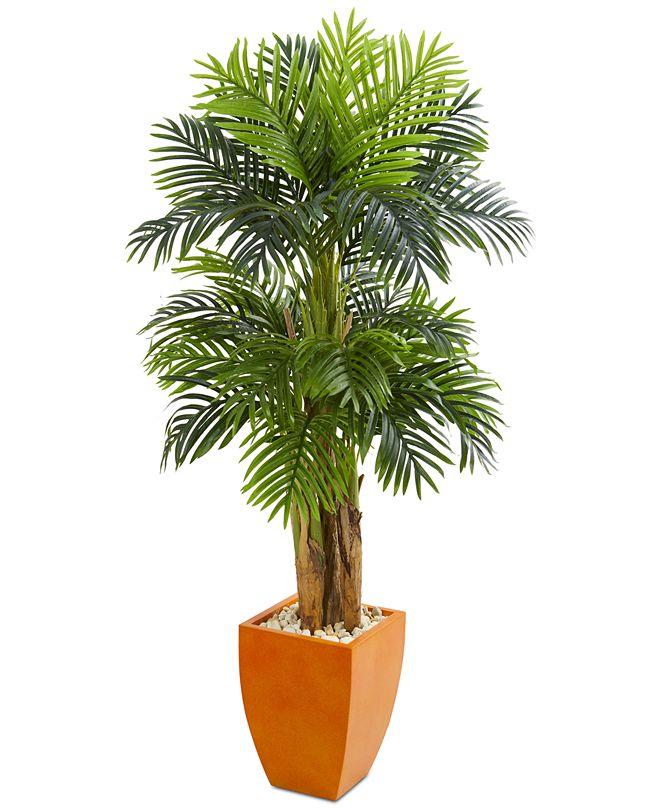 Nearly Natural 5.5' Triple Areca Palm Artificial Tree in Orange Planter