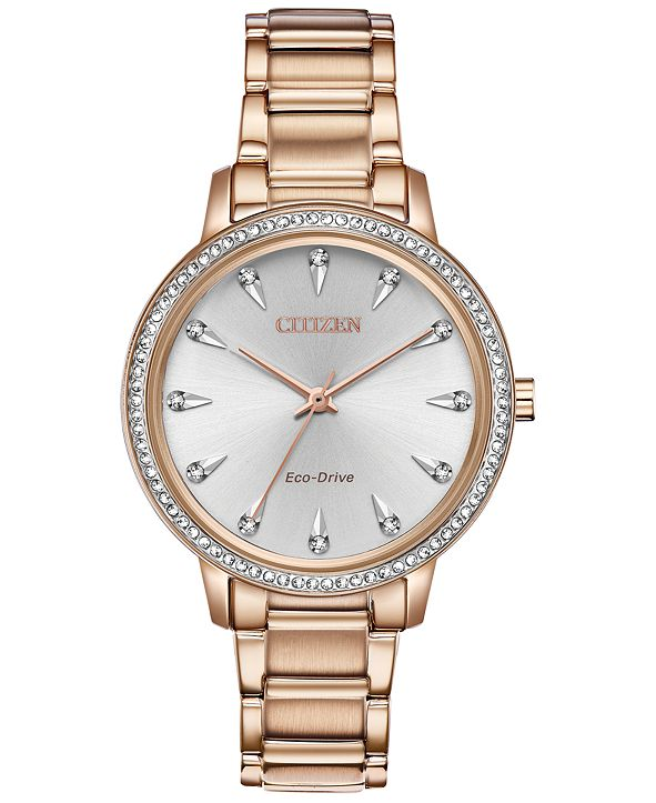 Citizen Eco-Drive Women's Silhouette Rose Gold-Tone Stainless Steel Bracelet Watch 36mm