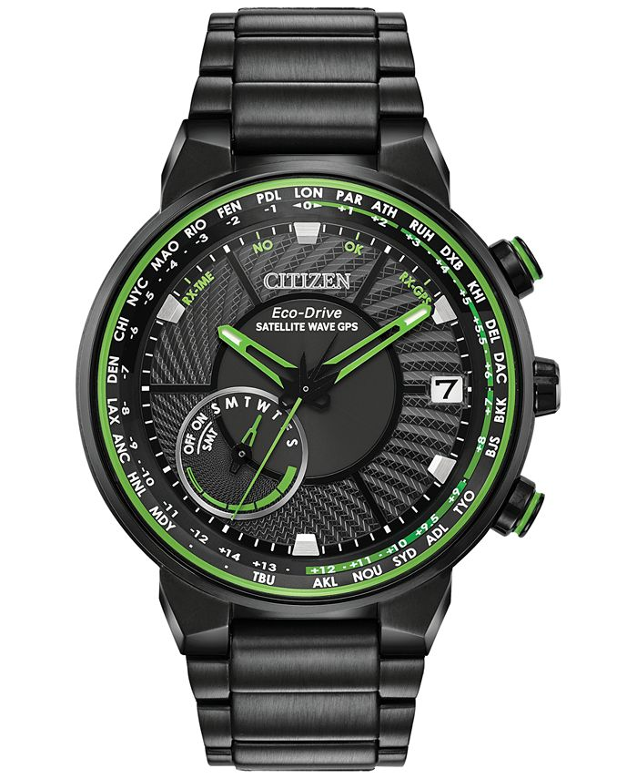 Citizen - Men's Satellite Wave-World Time GPS Black Stainless Steel Bracelet Watch 44mm