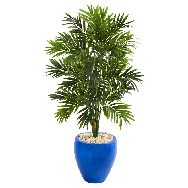 Nearly Natural 4' Areca Palm Artificial Tree in Glazed Blue Planter