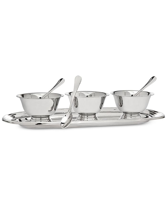 Godinger - Revere Serving Tray with 3 Bowls & Spoons