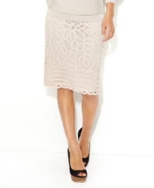 INC International Concepts Skirt, Pencil Lace Battenburg