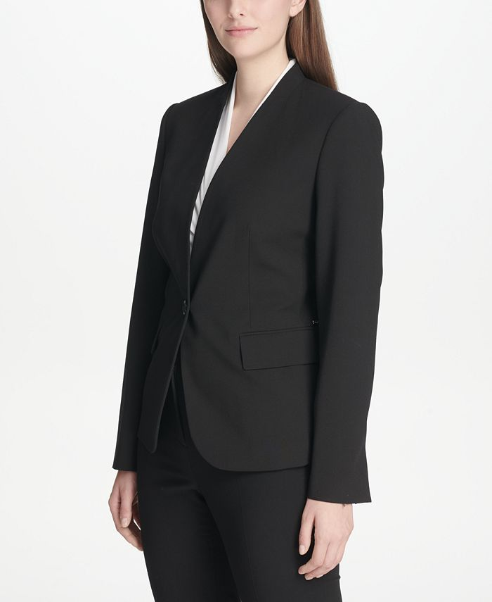 DKNY - Collarless One-Button Blazer