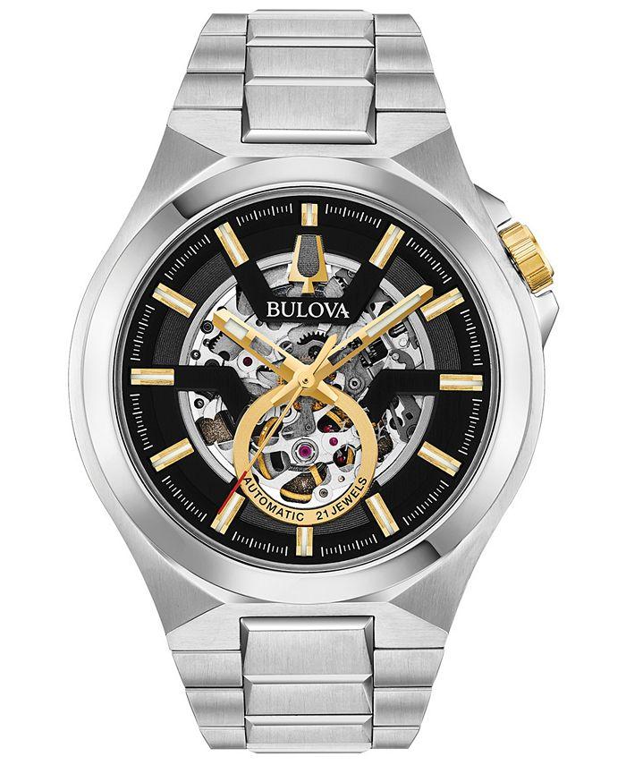 Bulova - Men's Automatic Maquina Stainless Steel Bracelet Watch 46mm