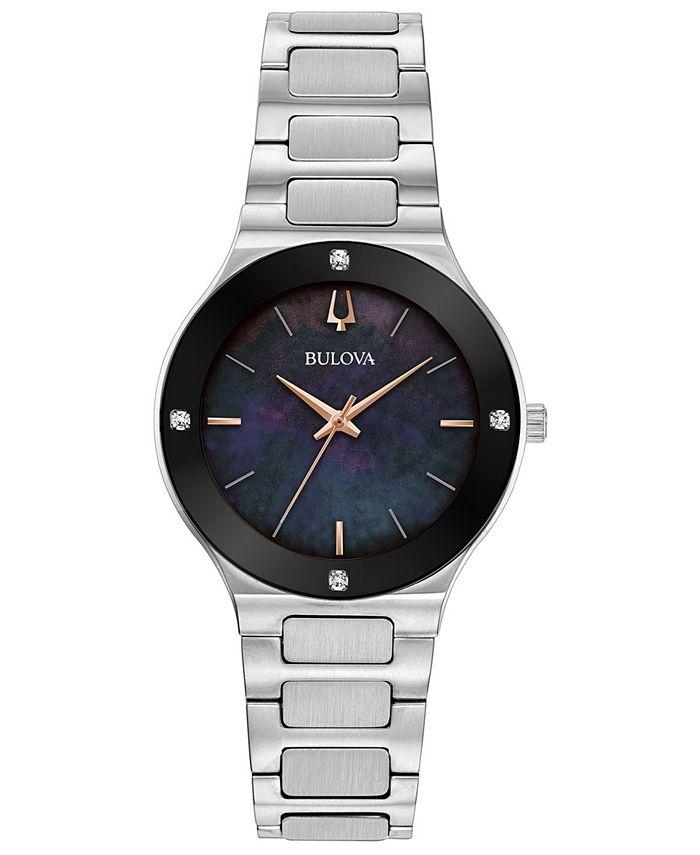 Bulova - Women's Futuro Diamond-Accent Stainless Steel Bracelet Watch 32mm