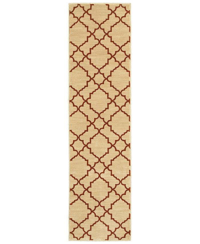 "Oriental Weavers - Casablanca 5178E Beige/Rust 1'10"" x 7'6"" Runner Area Rug"